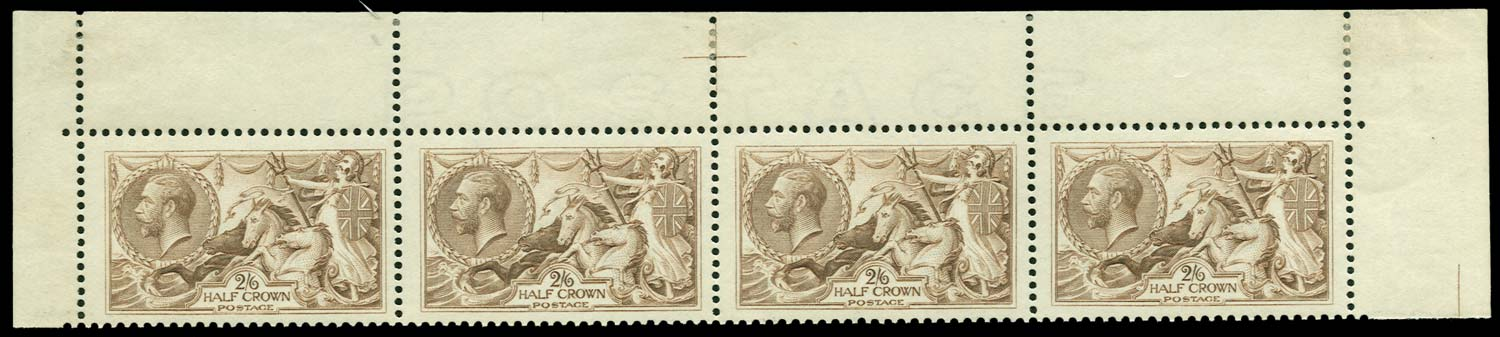 GB 1919  SG415a Mint top row strip of four