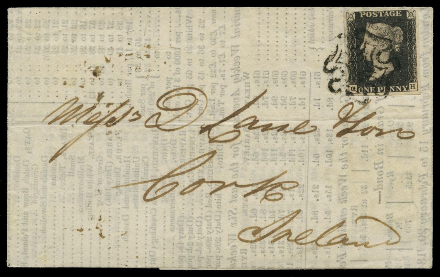 GB 1840  SG2 Pl.9 Penny Black on cover