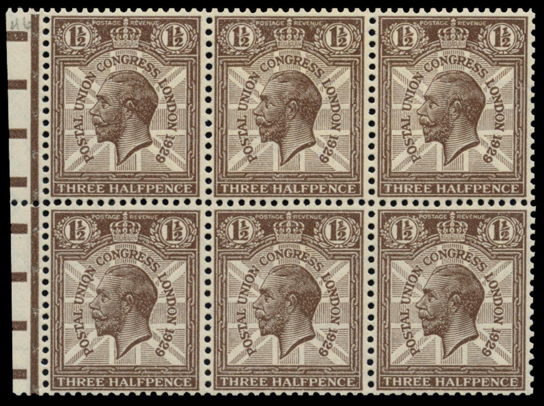 GB 1929  SG436var Booklet pane