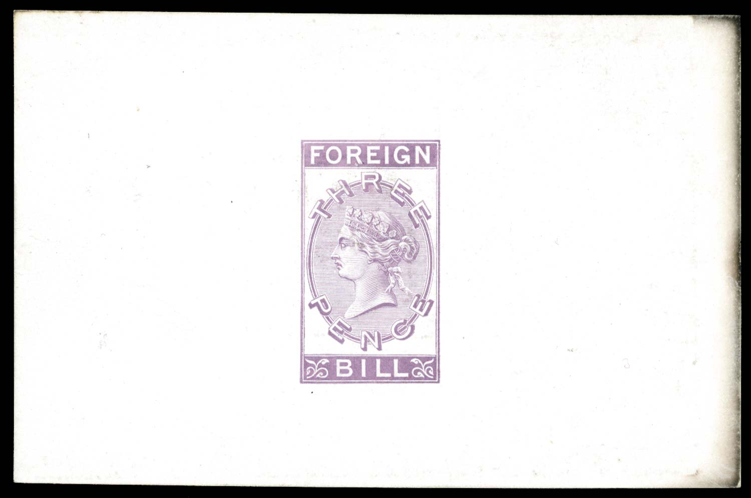 GB 1870  SG0 Revenue - 3d Foreign Bill die proof in lilac