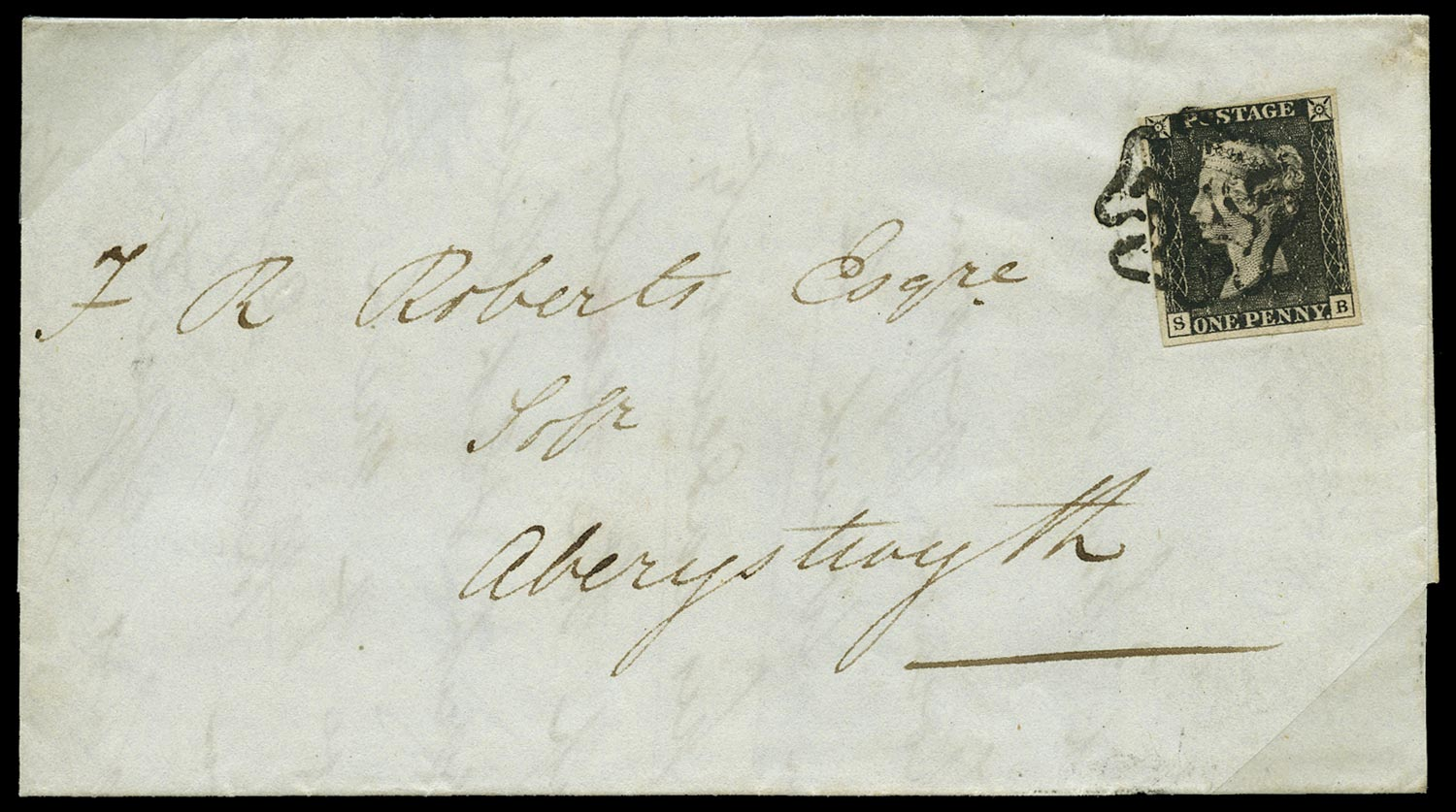GB 1840  SG2 Pl.6 Penny Black on cover