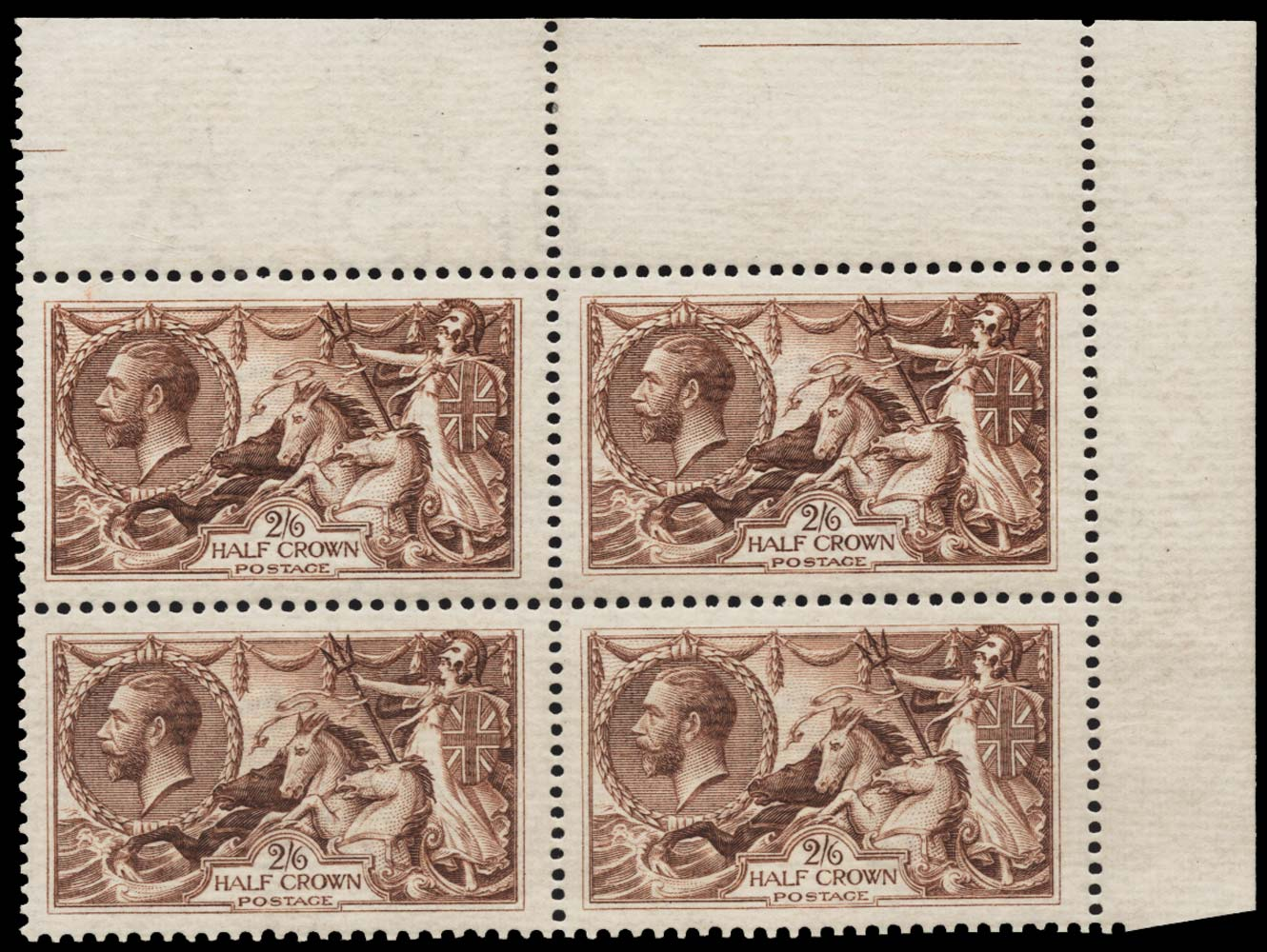 GB 1918  SG415var Mint block of four on