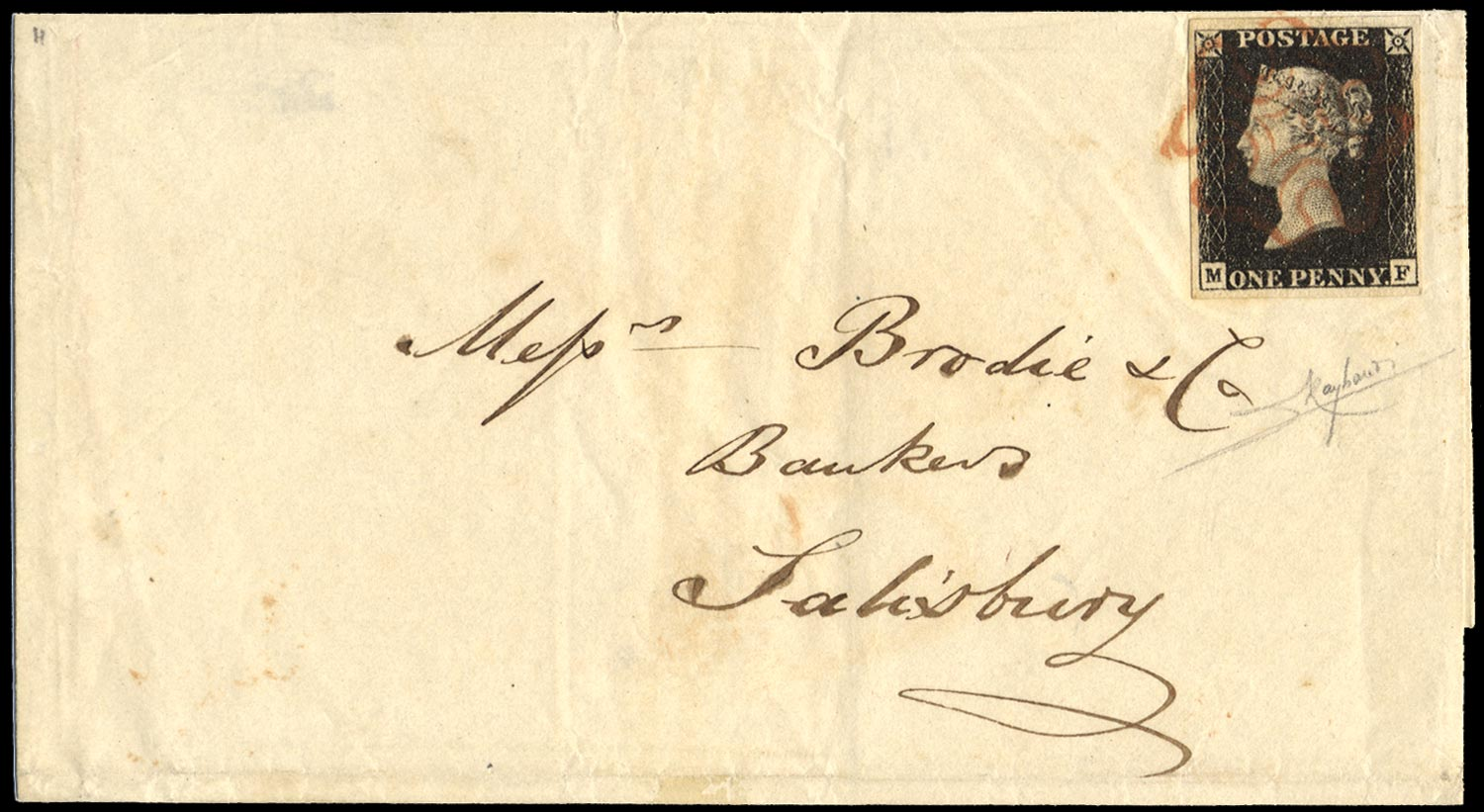 GB 1840  SG2 Pl.4 Penny Black on cover