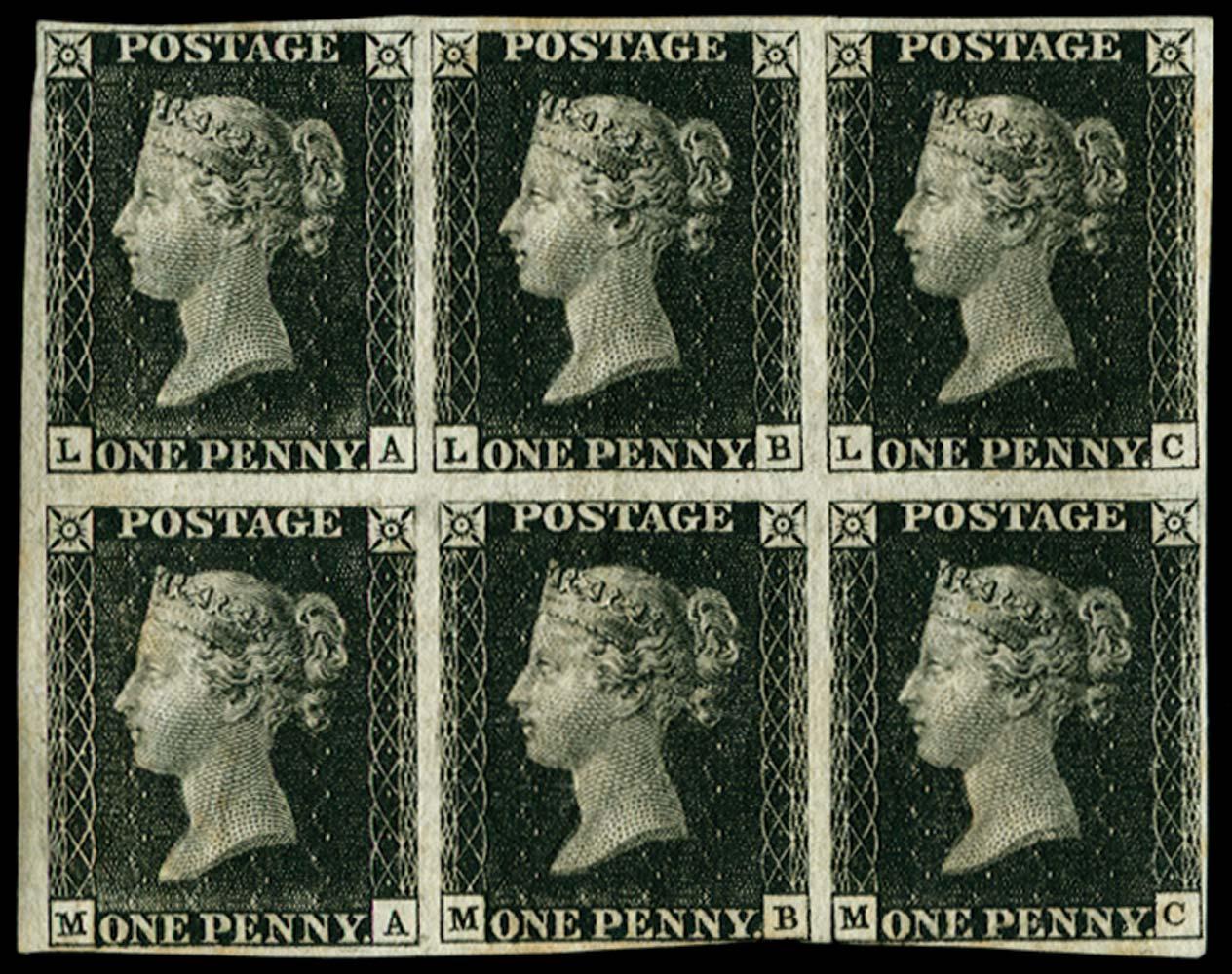 GB 1840  SG2 Pl.5 Penny Black block of six
