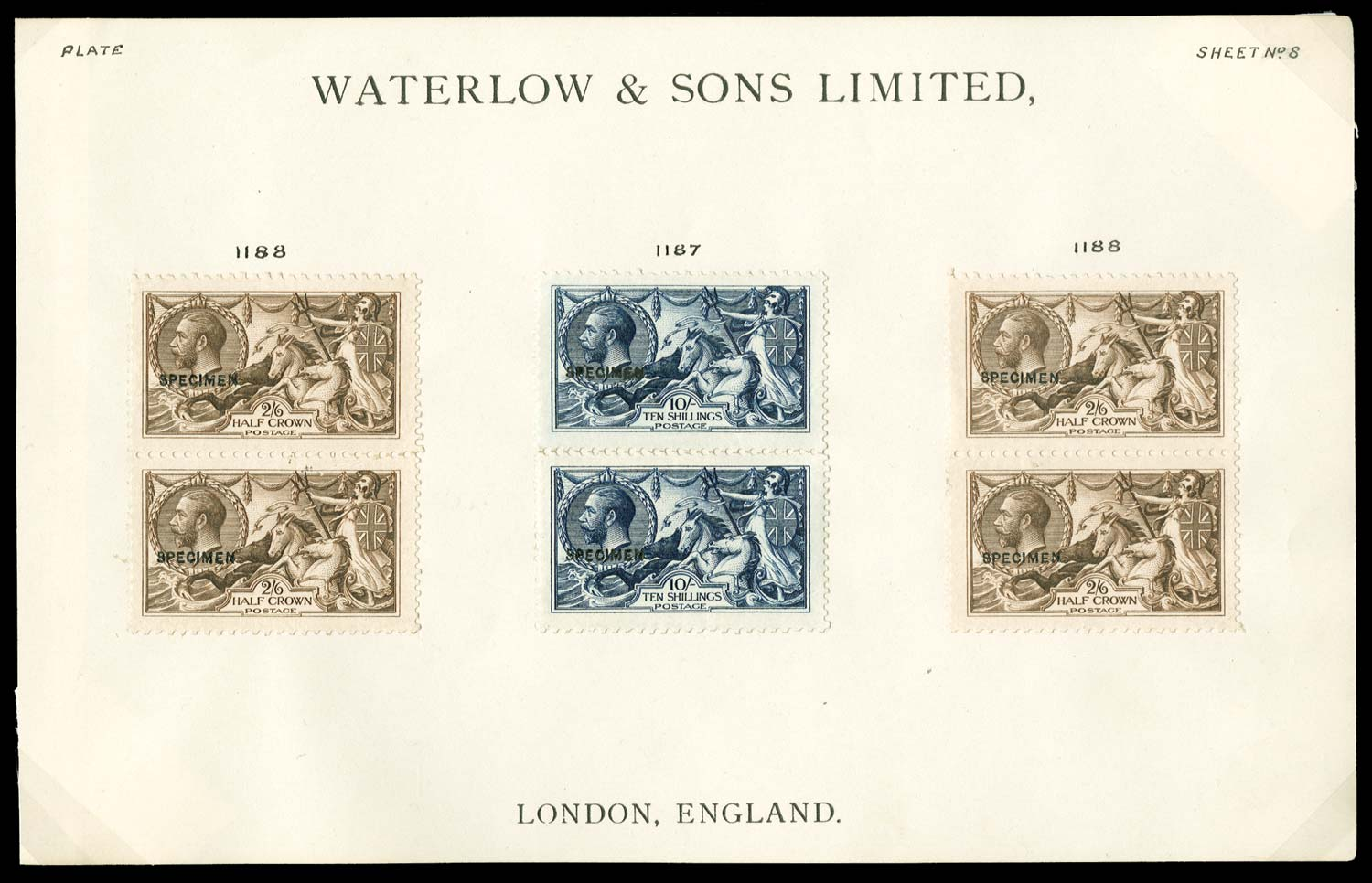 GB 1913  SG400,402s Specimen sample sheet with ovpt type 29