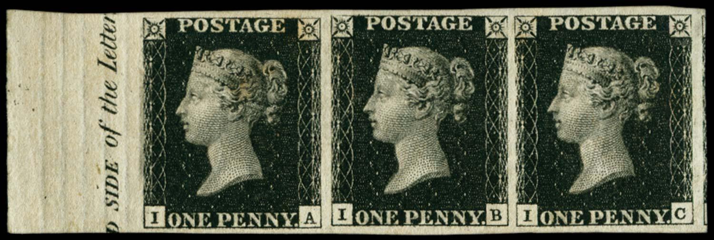GB 1840  SG2 Pl.5 Penny Black marginal strip of three