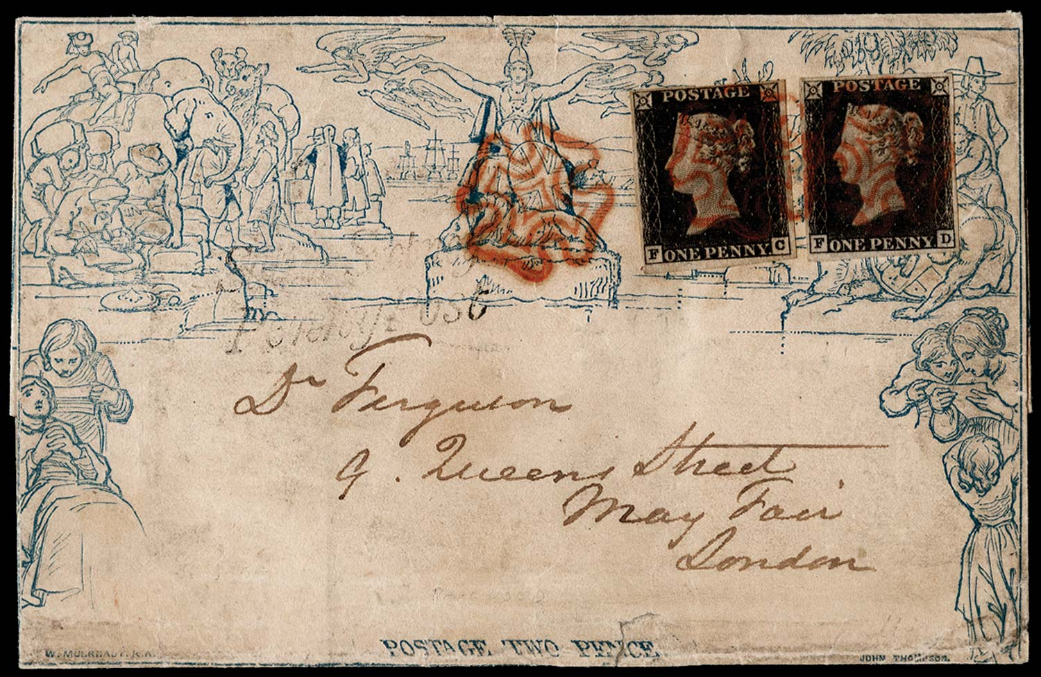 GB 1840  SGME3/2 Pl.1a Penny Black on a 2d Mulready prepaying the 4d rate
