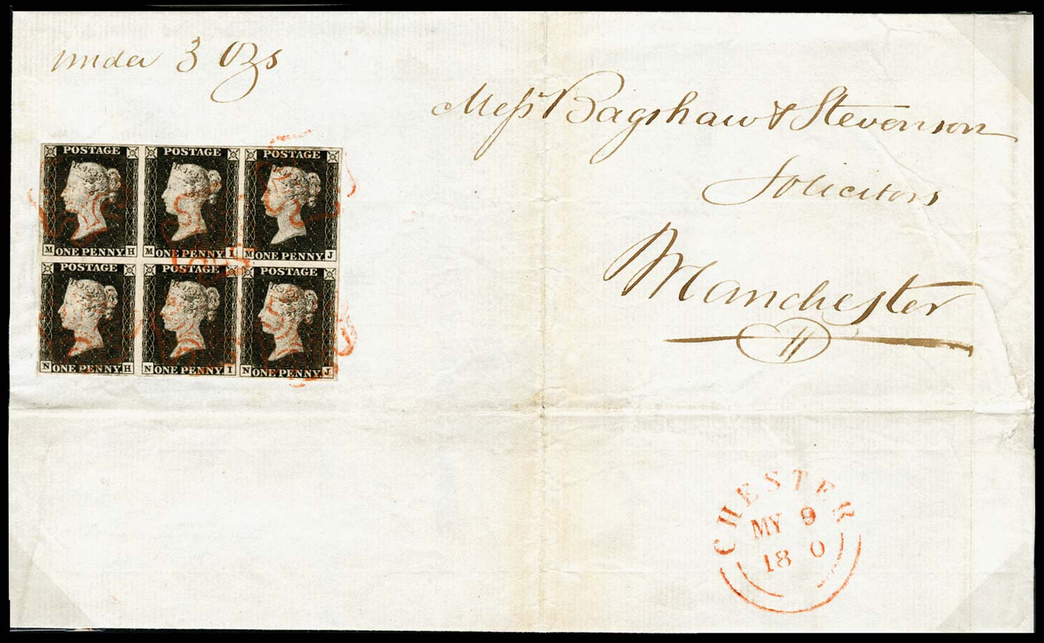 GB 1840  SG2 Pl.1a Penny Black Block of six used on cover MY.9.1840.