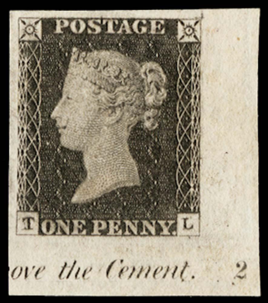 GB 1840  SG2 Pl.2 Penny Black corner marginal imprimatur.