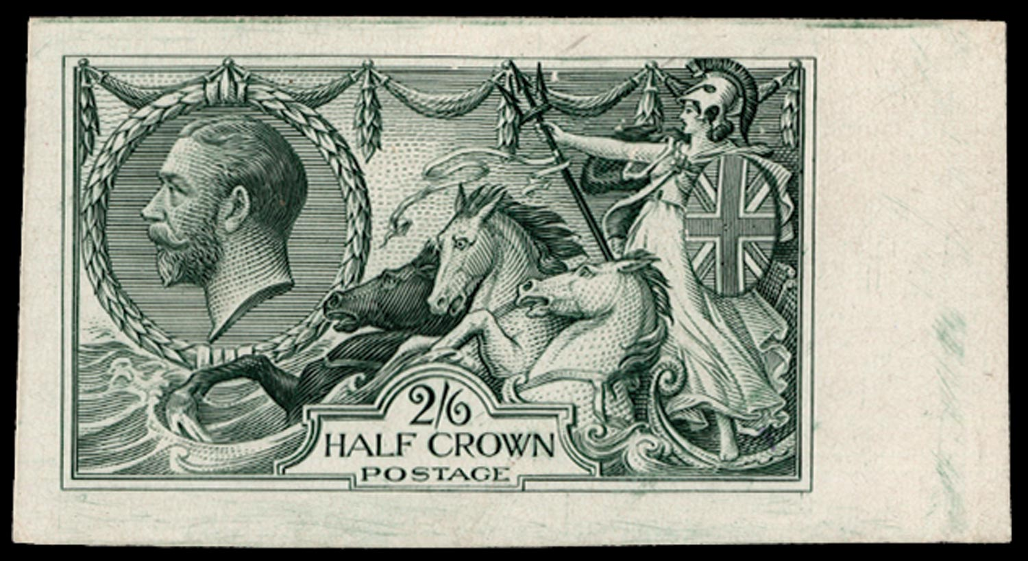 GB 1913  SG399var Plate Proof in dull blue-green