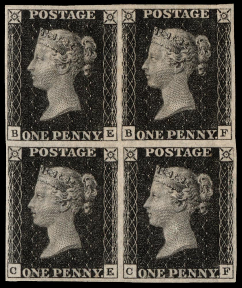 GB 1840  SG2 Pl.8 Penny Black mint block of four