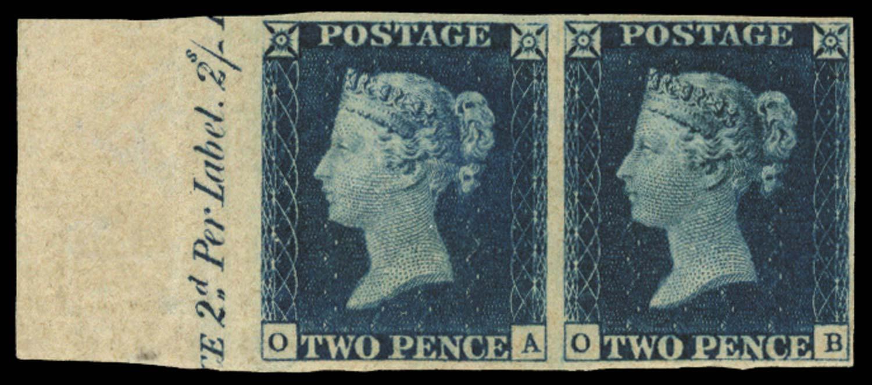 GB 1840  SG5 Pl.1 Mint marginal pair