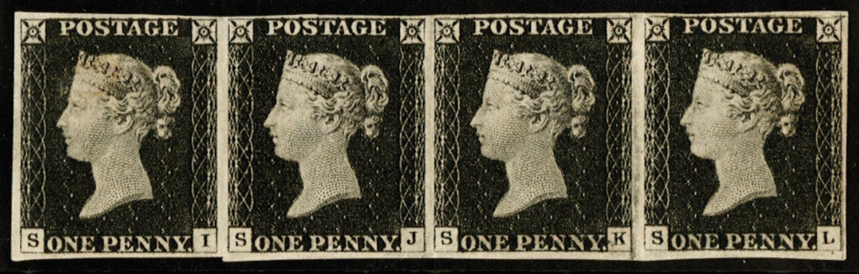 GB 1840  SG2 Pl.2 Penny Black unused strip of four