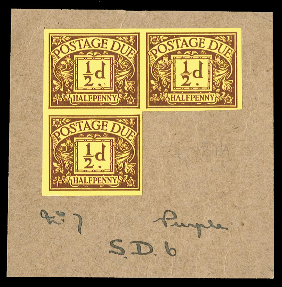 GB 1924  SGD18var Postage Due colour trial