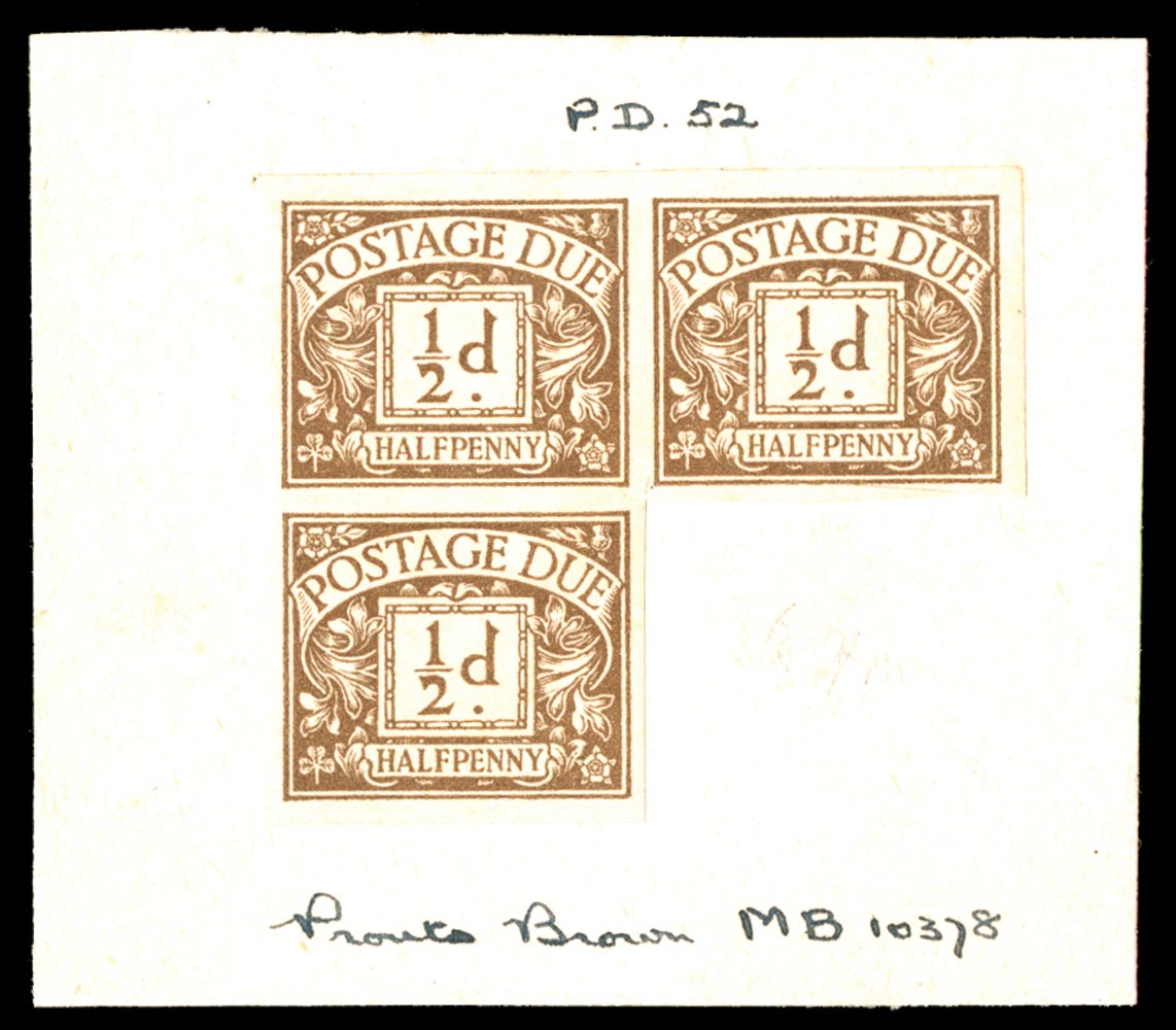 GB 1923  SGD18var Postage Due colour trial