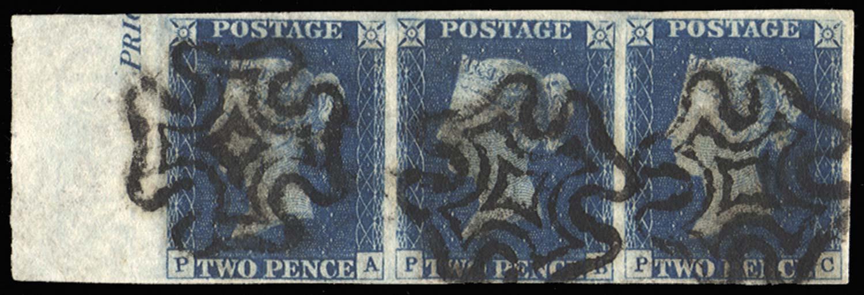 GB 1840  SG5 Pl.1 Used marginal strip of three