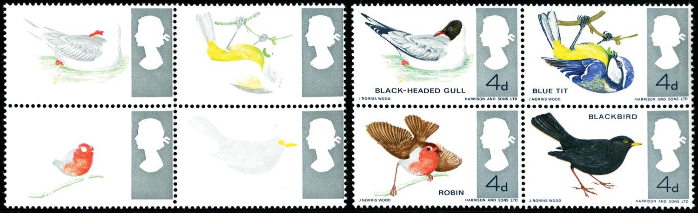 GB 1966  SG696ab Mint black, blue, bistre & reddish brown omitted