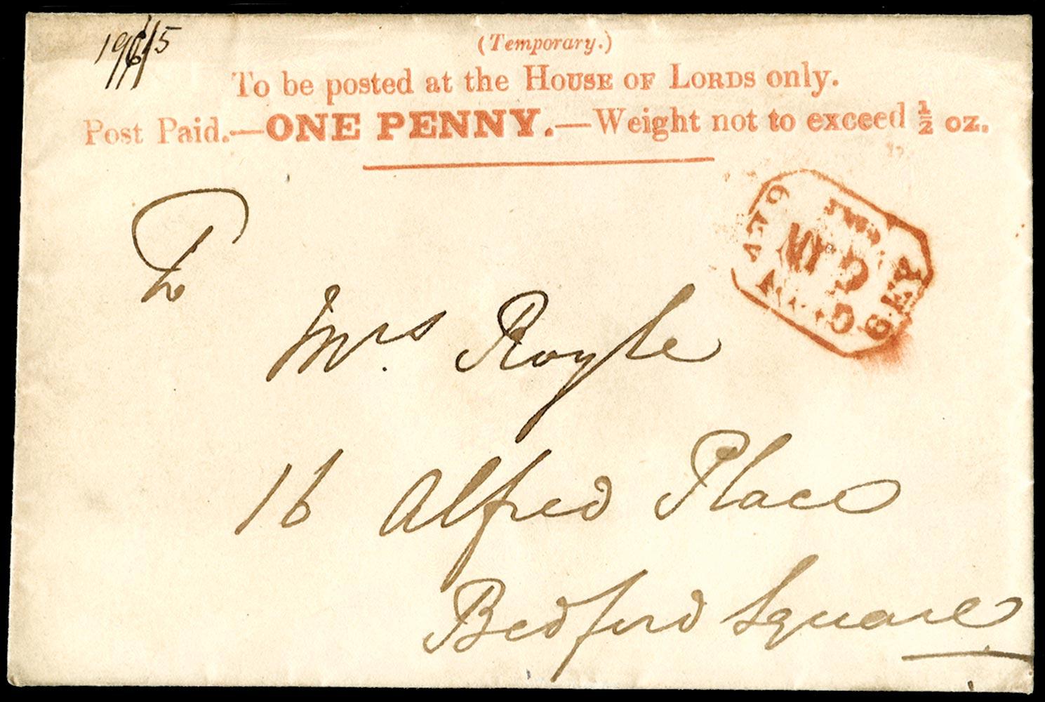 GB 1840  SGPE6 Pre-Stamp 1d