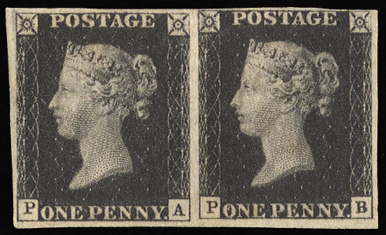 GB 1840  SG2 Pl.8 Penny Black mint pair