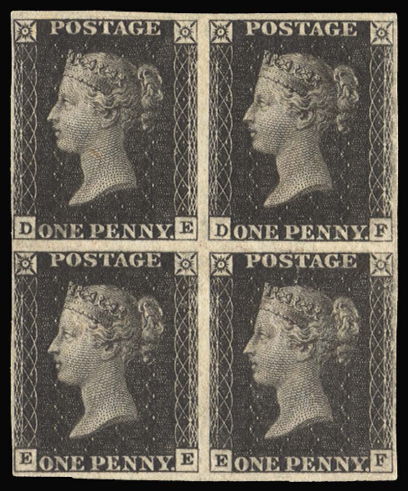 GB 1840  SG2 Pl.11 Penny Black mint block of four