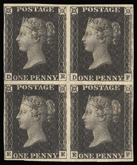 GB 1840  SG2 Pl.11 Penny Black mint block of four
