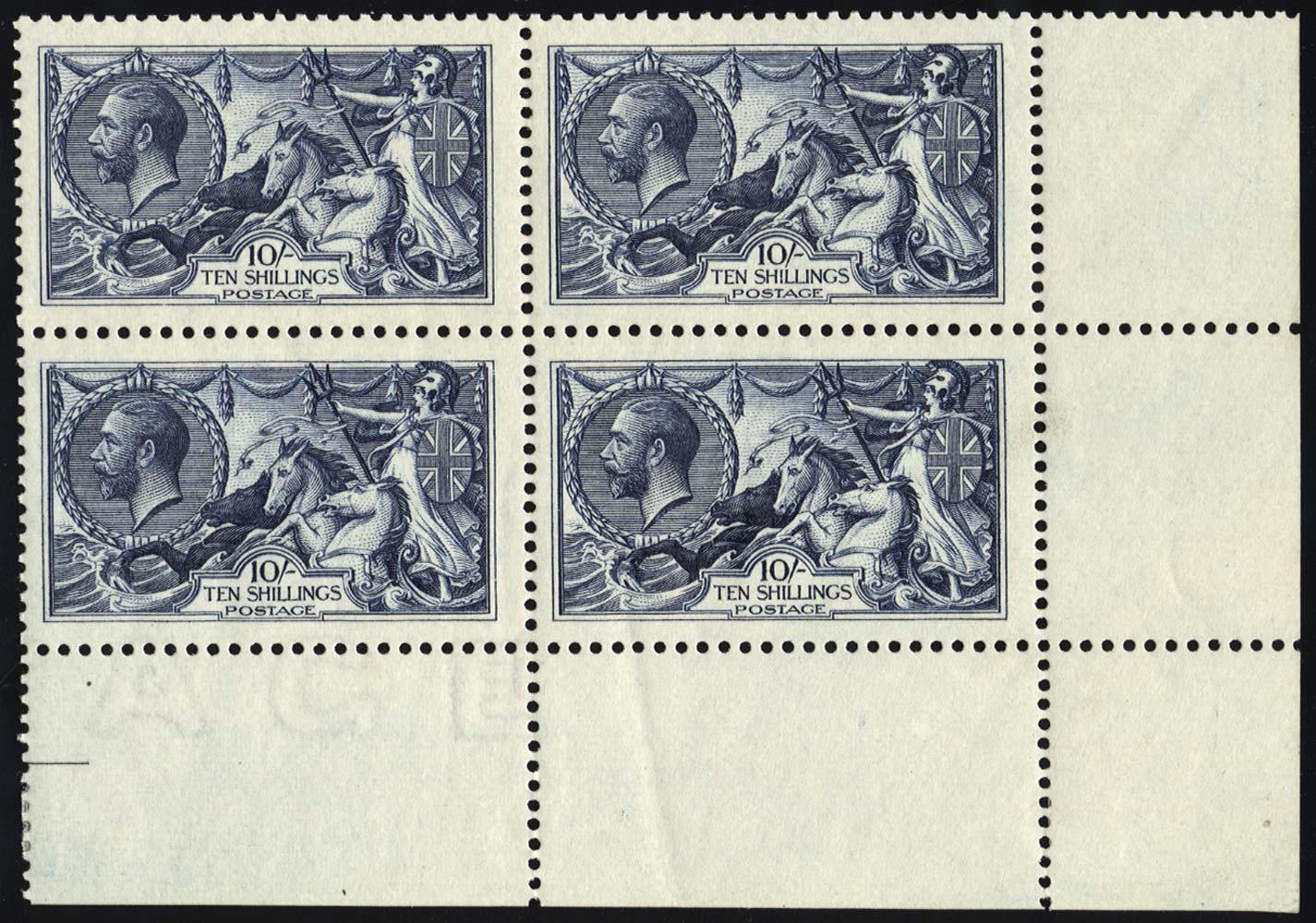 GB 1913  SG402var Mint corner marginal block of four