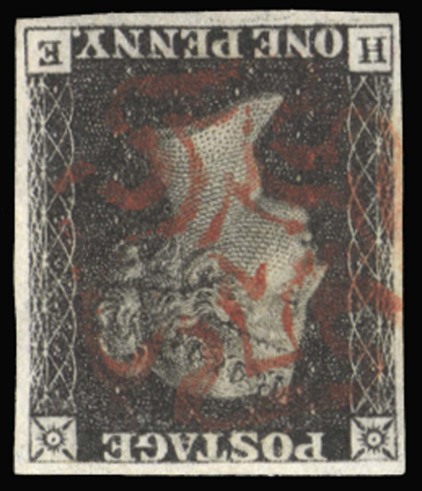 GB 1840  SG2wi Pl.5 Penny Black with watermark inverted