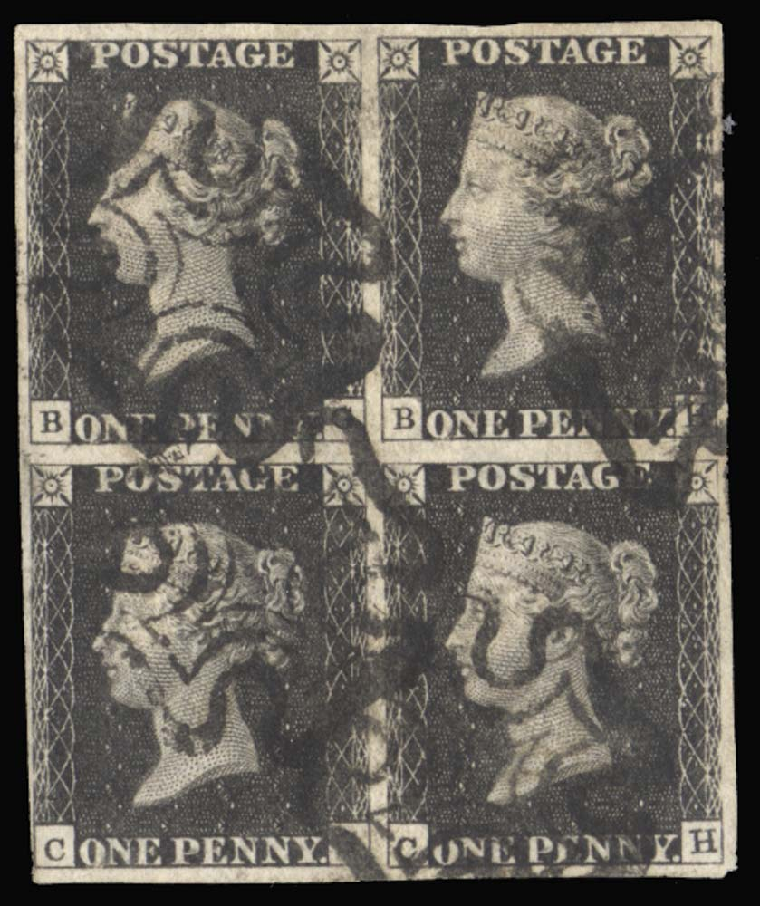 GB 1840  SG2 Pl.8 Penny Black used block of four