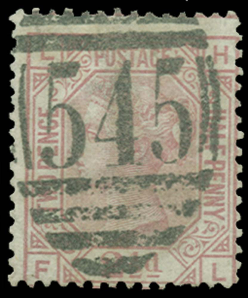 GB 1875  SG140 Pl.2 Used Error of lettering.