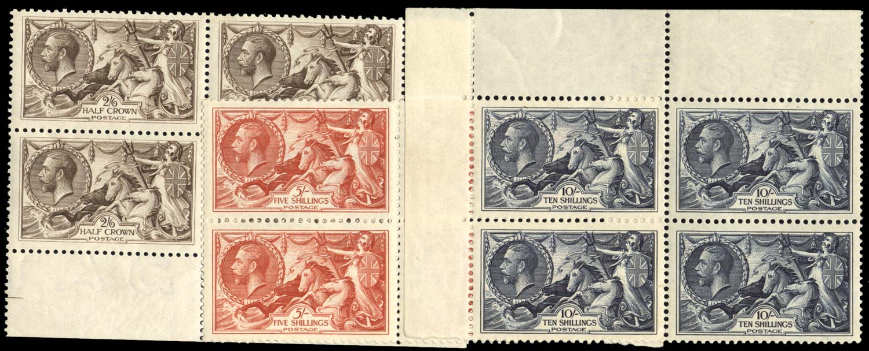 GB 1918  SG414/7 Mint set in marginal blocks of four