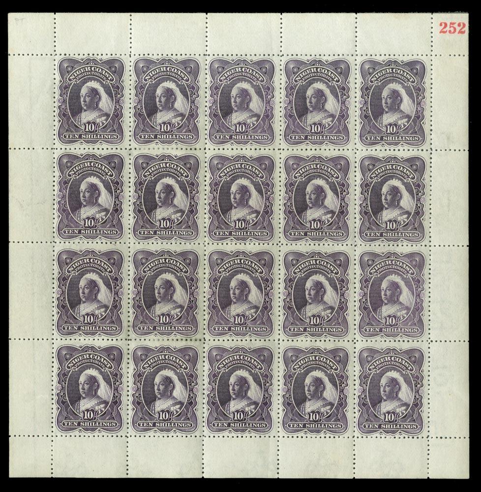 NIGER COAST 1897  SG74bx Mint 10s deep violet perf 13½-14 variety WATERMARK REVERSED