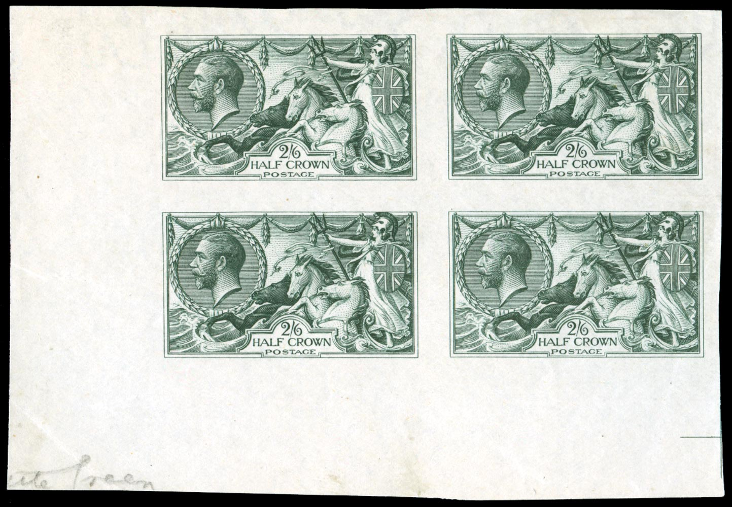 GB 1913  SG399var Colour Trial block of four in bottle green
