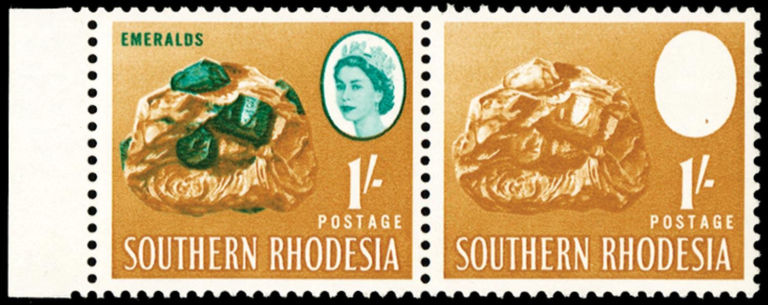SOUTHERN RHODESIA   SG99a Mint unmounted 1s blue-green and ochre error BLUE-GREEN (QUEEN and EMERALDS) OMITTED