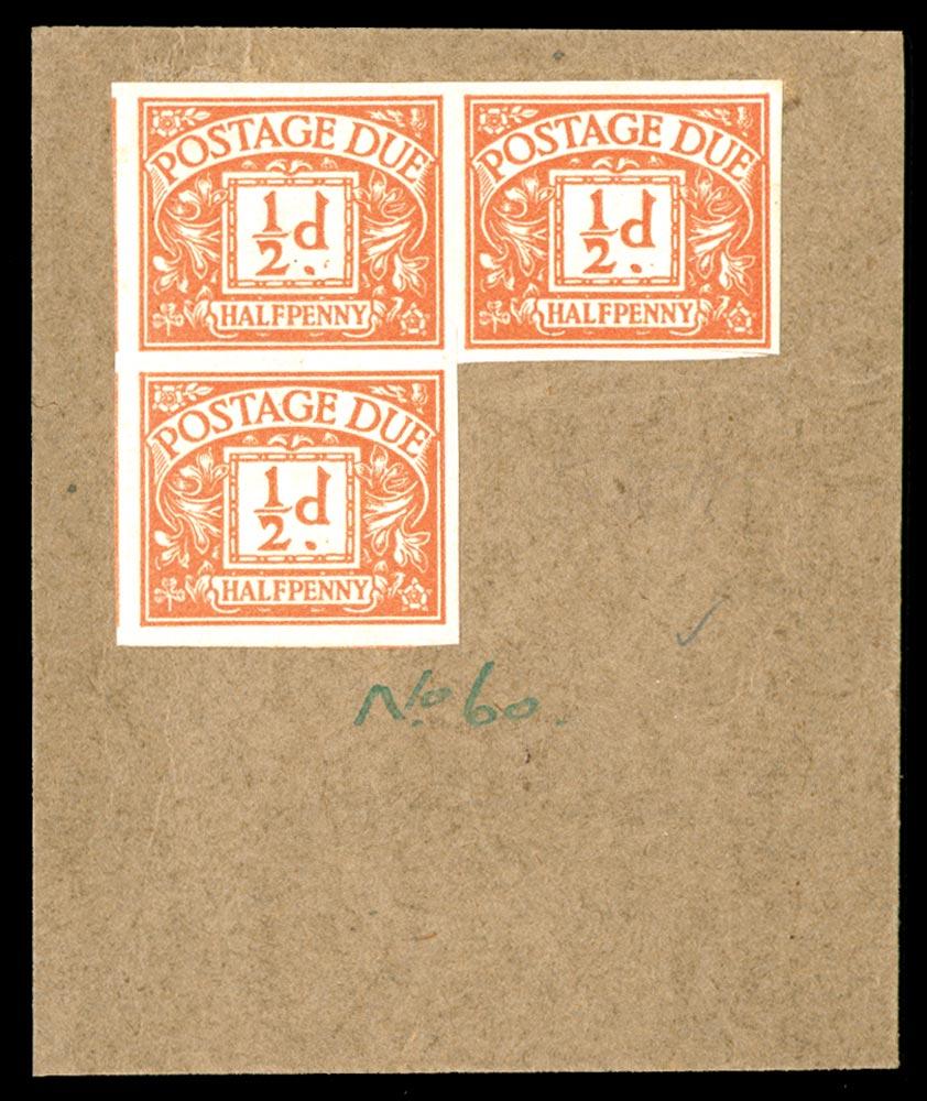 GB 1923  SGD18var Postage Due colour trials.