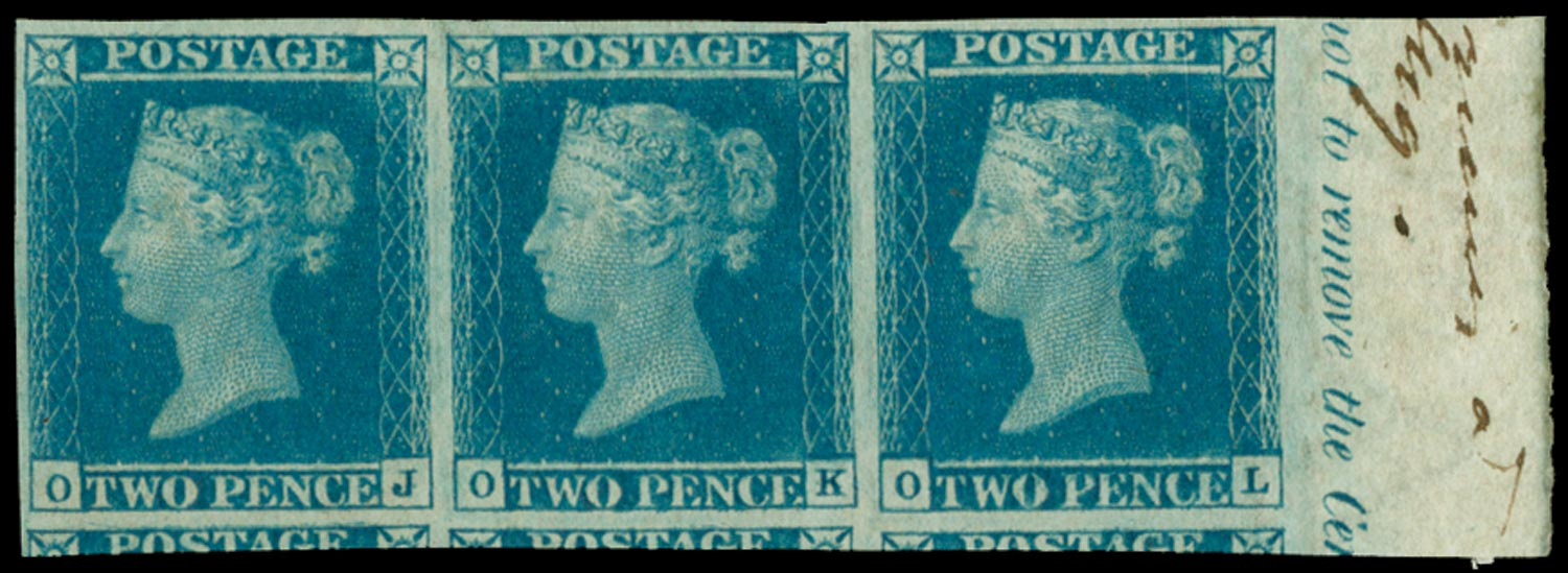 GB 1841  SG13 Pl.3 Mint Strip of three.