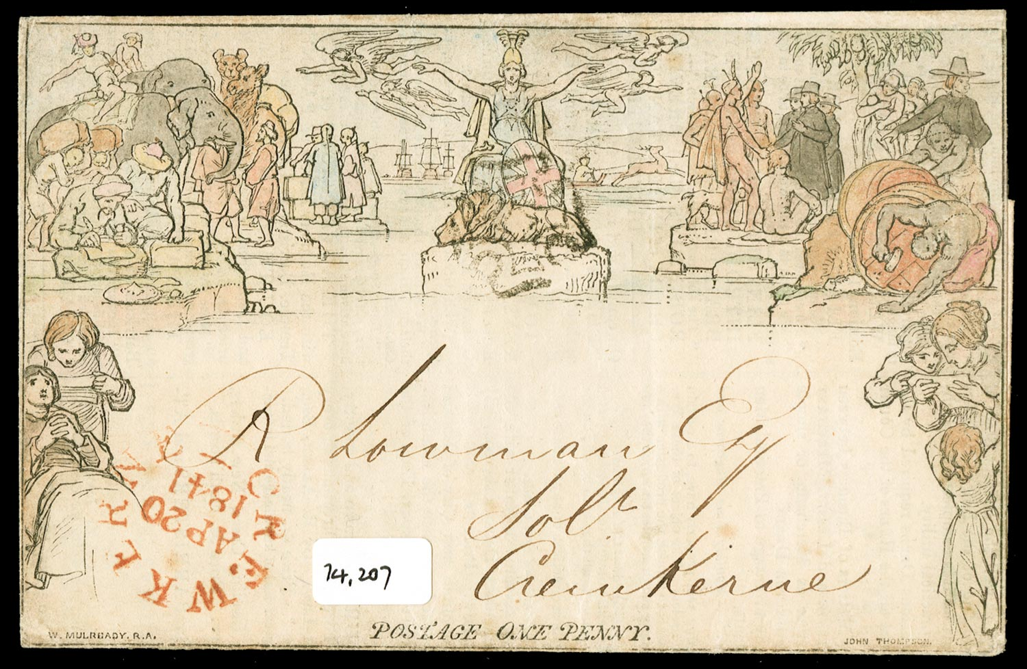 GB 1840  SGME1 Cover Hand coloured.