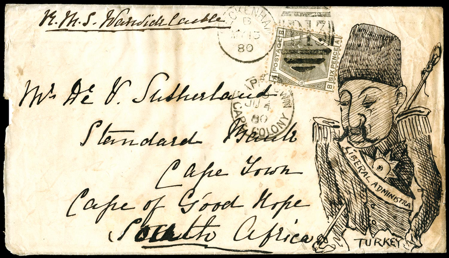 GB 1880  SG147 Pl.16 Cover Hand illustrated.
