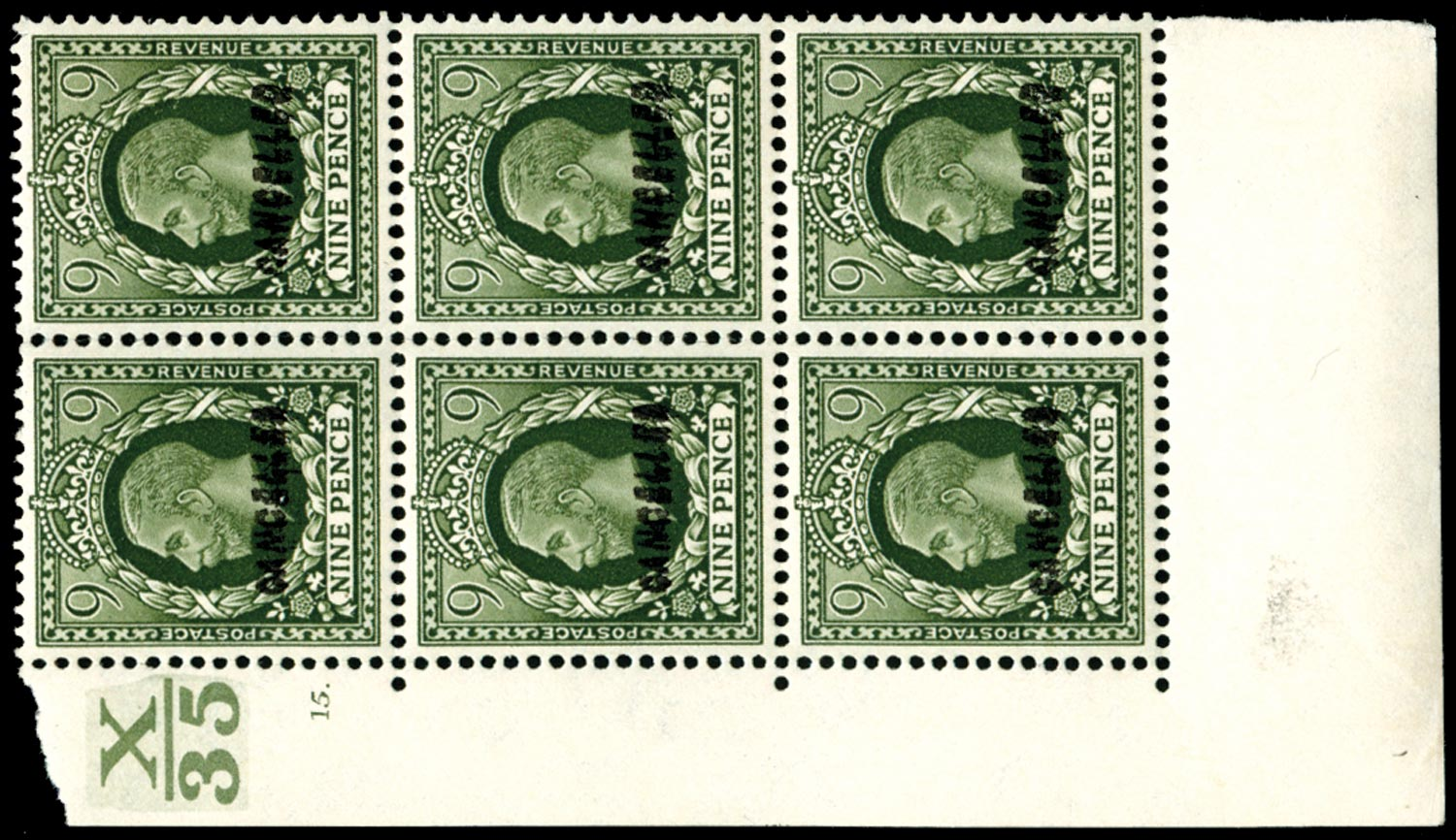 GB 1934  SG447var Mint CANCELLED block of six.
