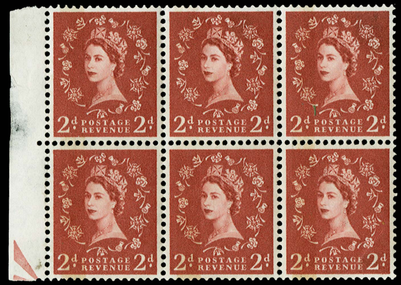 "GB 1958  SG573var Trial ""Dollis Hill Phosphor Trial"""
