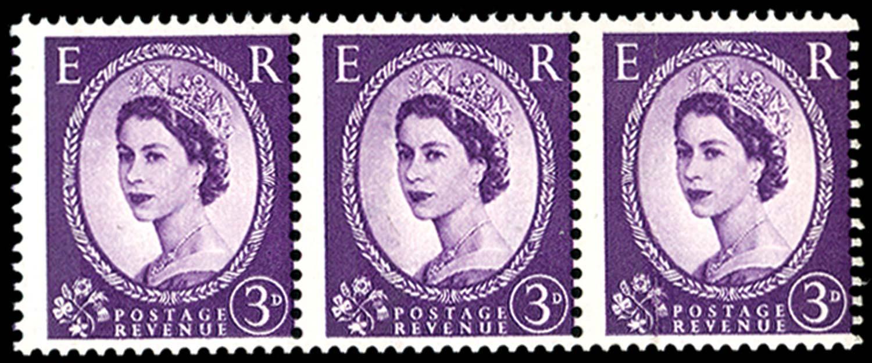 GB 1959  SG575var Mint one blue band, Wmk. sideways paper