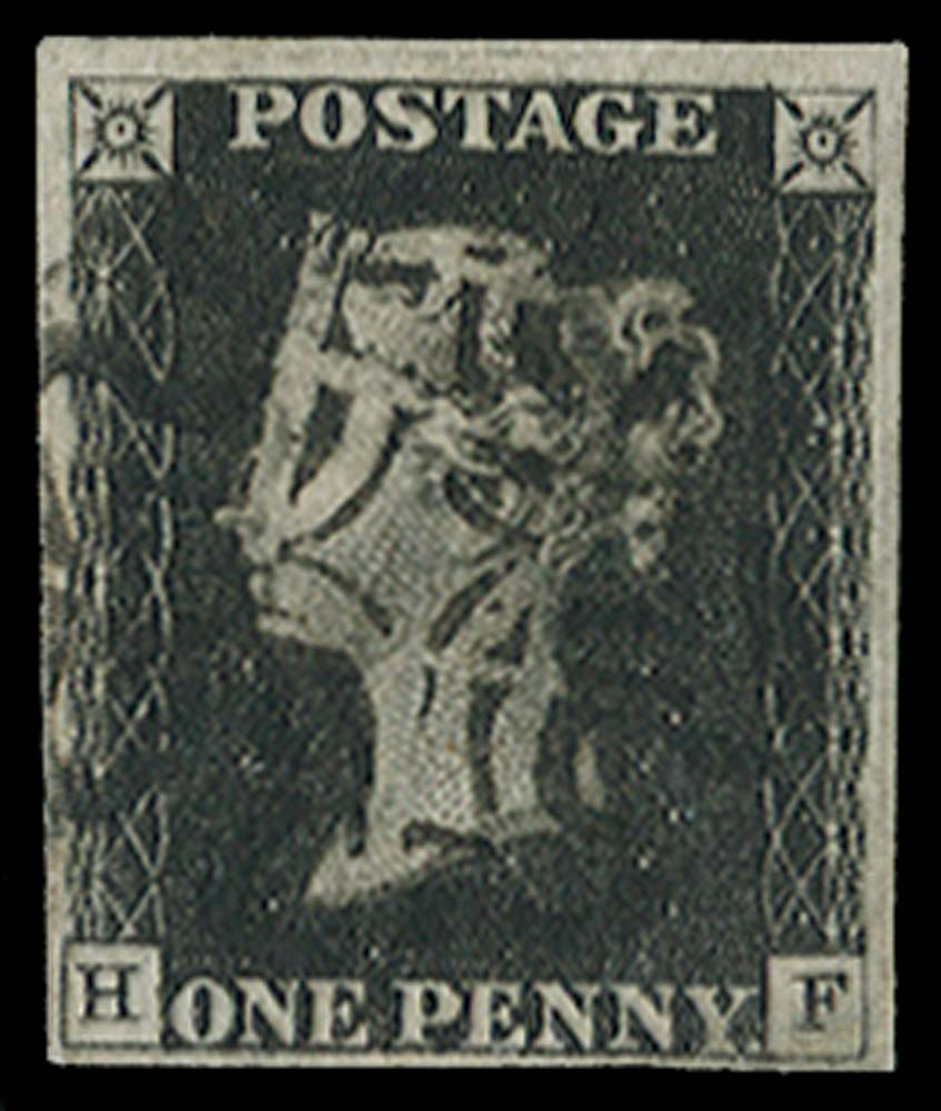 GB 1840  SG2 Pl.5 Penny Black cancelled with a Wotton MC