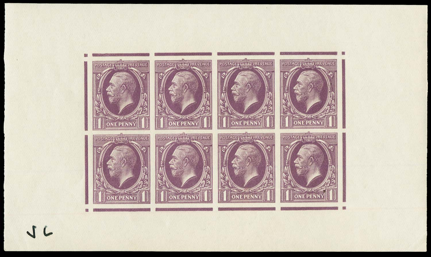 GB 1934  SG440var Colour Trial sheetlet of eight