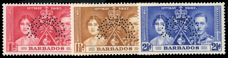 BARBADOS 1937  SG245s/7s Specimen