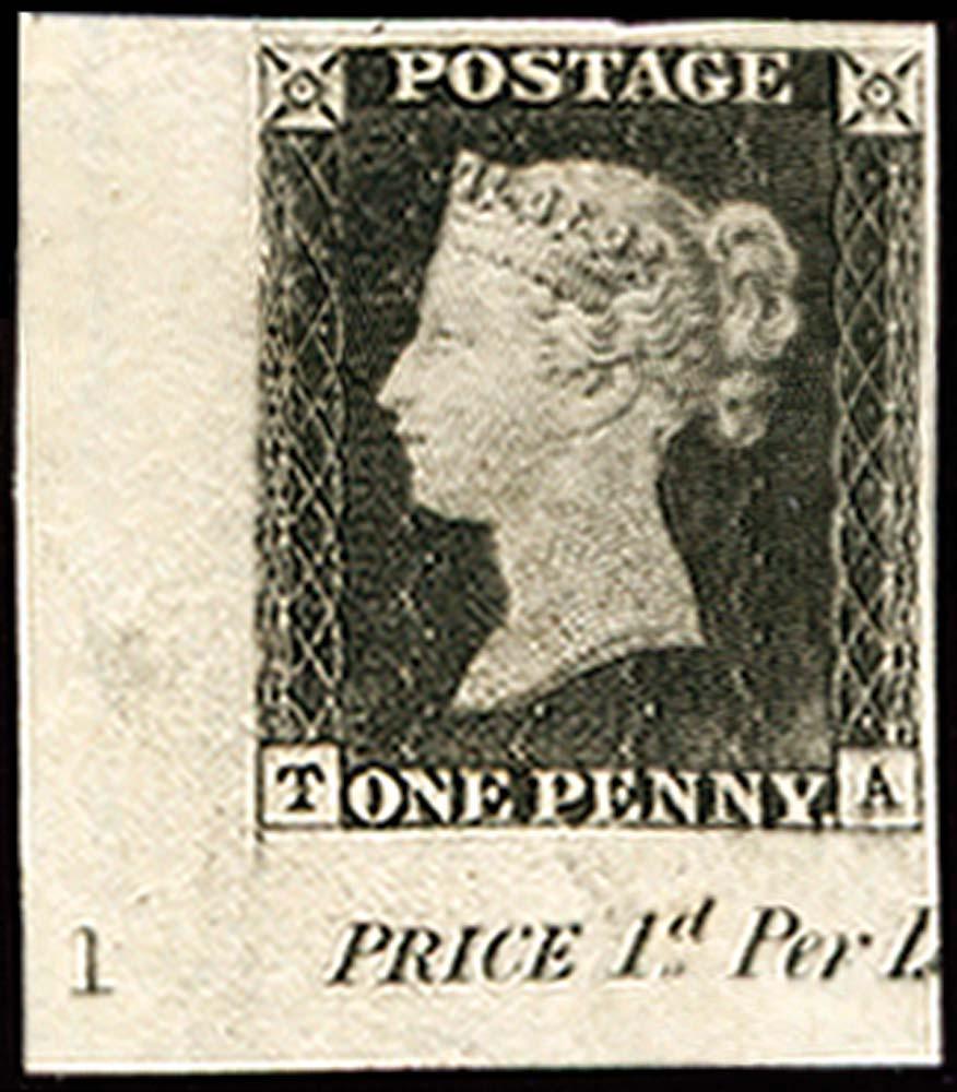 GB 1840  SG2 Pl.1a Penny Black Imprimatur