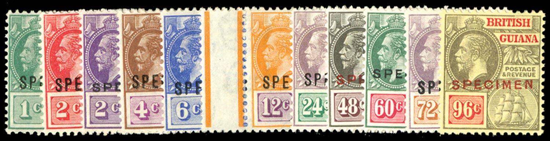BRITISH GUIANA 1921  SG272s/82s Specimen