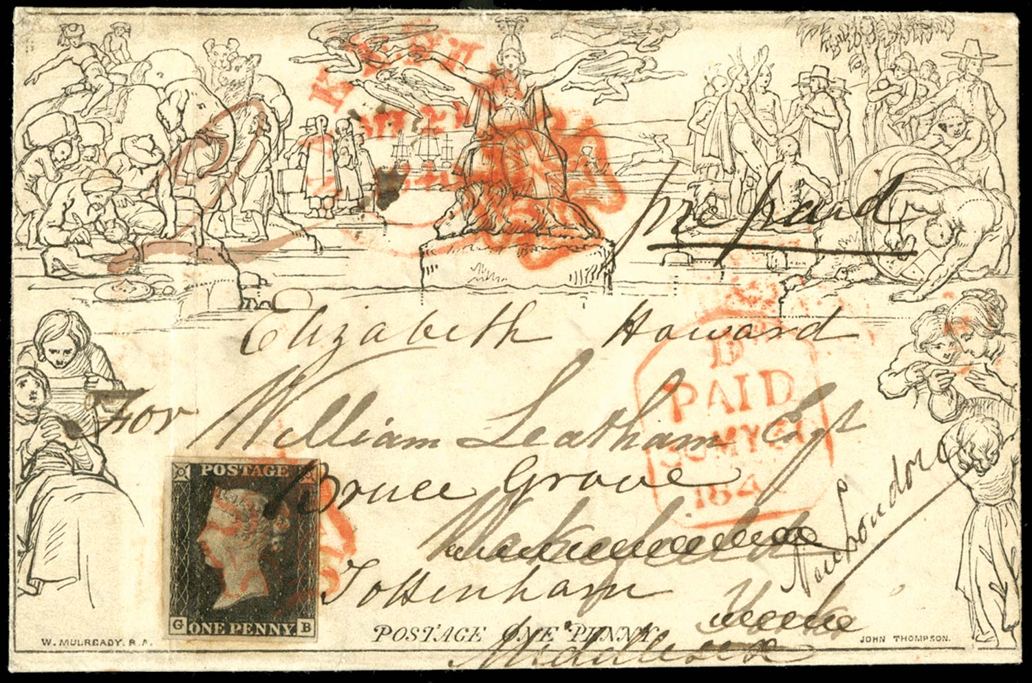 GB 1840  SGME1,2 Pl.1a Cover uprated with 1d black