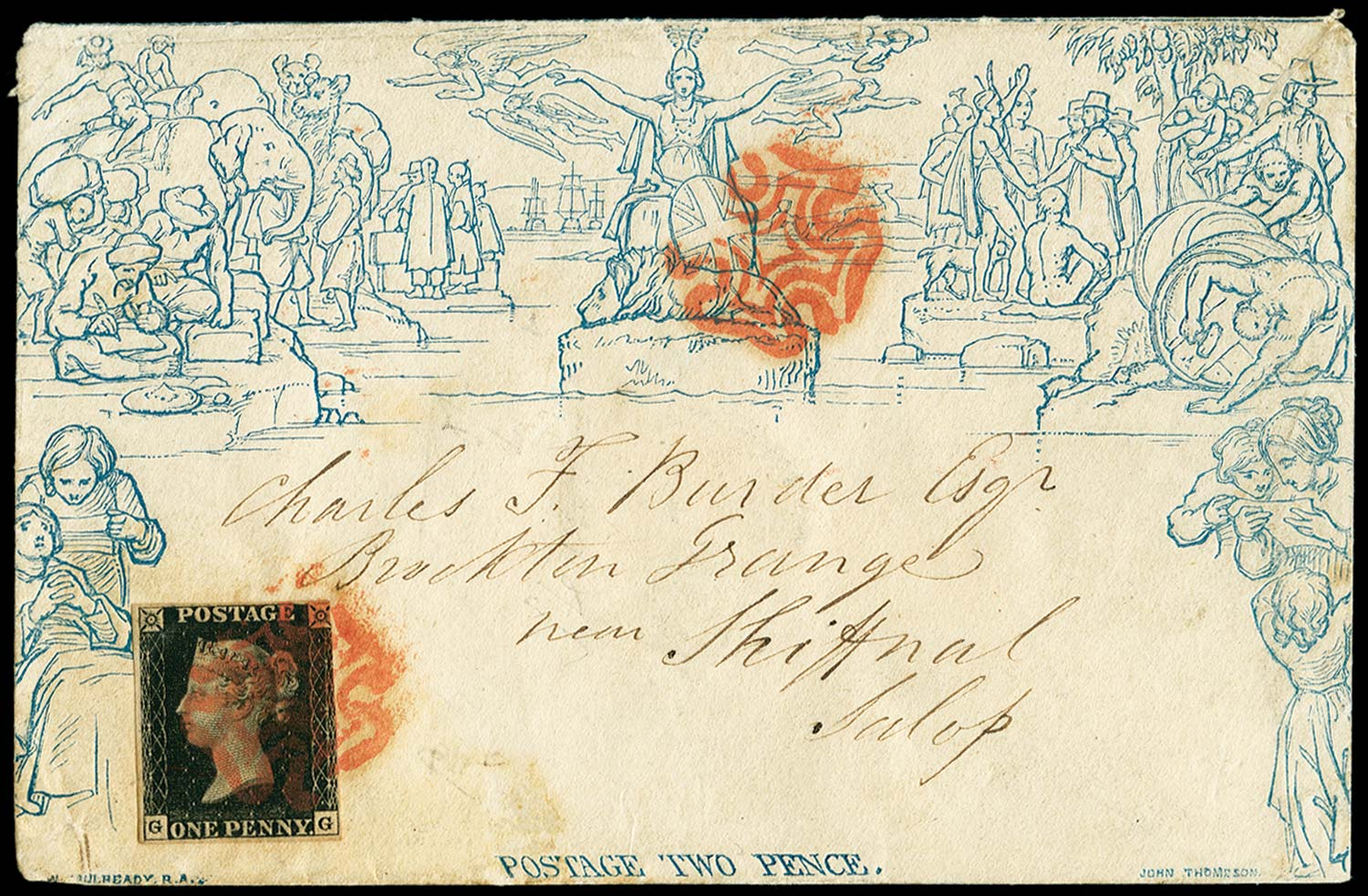 GB 1840  SGME4,2 Pl.6 Cover with a 1d late fee paid by a penny black