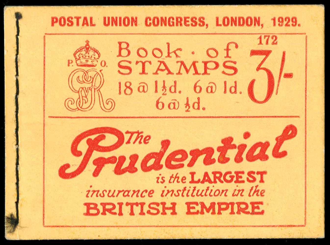 GB 1929  SGBB25 Booklet (Edition 172)