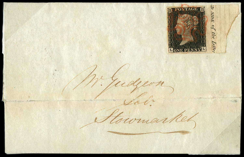 GB 1840  SG2 Pl.5 Penny Black marginal on cover