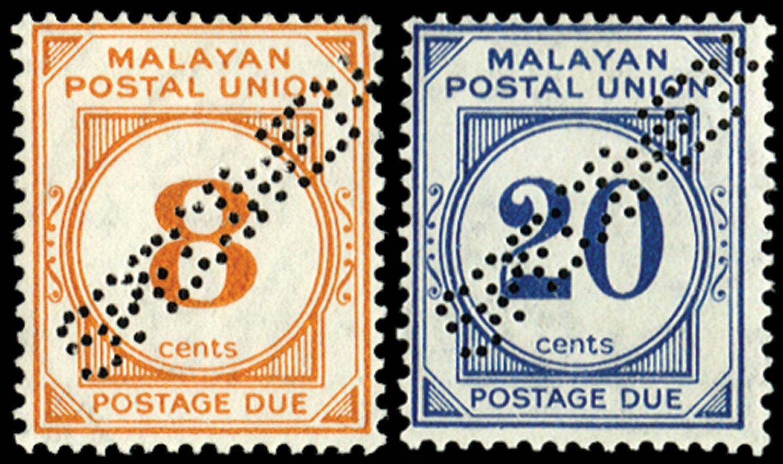 MALAYA - M.P.U. 1945  SGD10s,13s Specimen